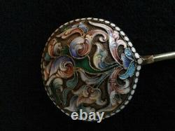 Large Antique Spoon In Russian Silver 84 Partitioned Enamel