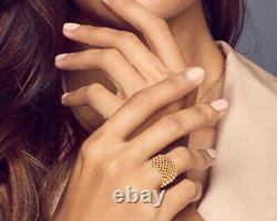 Large Old Style Ring In Silver Rhodiee Yellow Gold 14g In The Shape Of Mesh