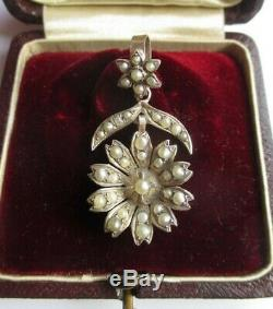 Large Pendant Former Napoleon III Flower Beads Silver Solid Silver Charm