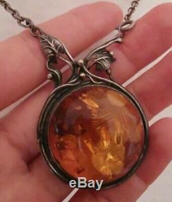 Long Necklace Old Amber In Silver