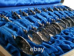 Magnific Rare Set 12 Old Small Cuilles Moulin Dutch Silver