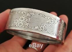 Napoleon III Antique Chiseled Bracelet In Sterling Silver