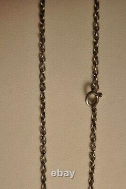Necklace Ancien Argent Massif Citrine Antique Paillon Silver Foiled Stone Necklac