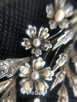 Necklace Ancient Silver Massif Vermeil Fine Pearls Napoleon III Xixeme
