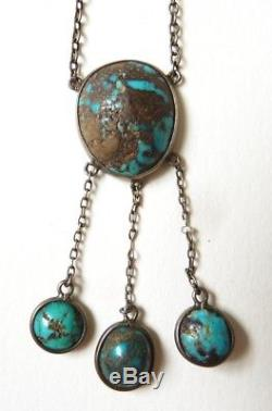 Necklace Neglected Sterling Silver + Turquoises Necklace Silver Old Jewelry
