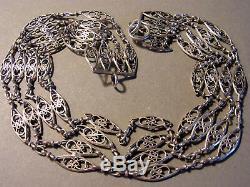 Necklace Old Dog Ras Eoc Nineteenth 4 Rank Silver Filigree Link