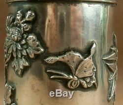 Nice Old Brush Pot Sterling Silver China Fin Nineteenth
