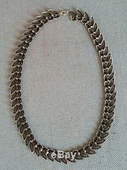 Old 925 Solid Silver Choker Necklace Filigreed Necklace Silver