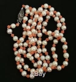 Old Art Deco Pearl And Coral Necklace, Clasp In Sterling Silver