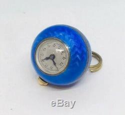 Old Art Deco Sterling Silver Enamel Blue Guilloche Ball Watch Pendant
