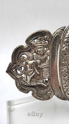 Old Belt Buckle Sterling Silver 19th Century Burma