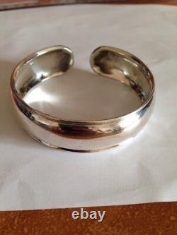 Old Bracelet Jonc Silver Cuff Massive Punch 925 - Goldsmith