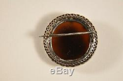 Old Brooch 18k Solid Gold Silver Carnelian Cameo Antique Diamonds Cameo Brooch