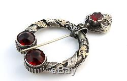 Old Brooch Brooch Provencal Silver And Gold Red Stones XIX