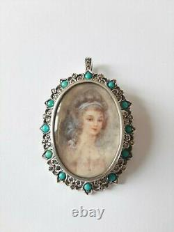 Old Brooch Or Massive Silver Pendant, Young Woman Painting