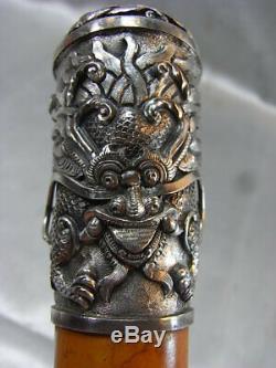 Old Cane Knob Dragon Sculpture Animaliere China Walking Stick Malacca
