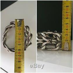 Old Chunky Bracelet Sterling Silver Art Deco Modernist 97 Grams