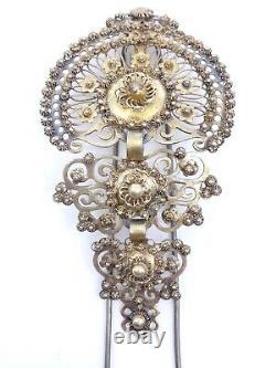 Old Comb Pin Tiara Solid Silver Vermeil Jewel Regional 19th