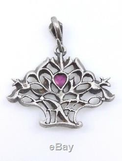Old Flower Basket Pendant Marcasite In Sterling Silver And 1900 Stones