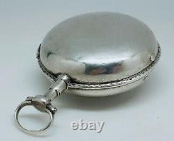 Old Gousset Rooster Watch 18th Silver Works Key Old Vintage Pocket Watch