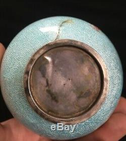 Old Japanese Vase Sterling Silver Enamelled Cloisonné Dragon 18cm Japanese