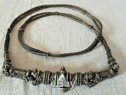 Old Jewelry Silver Massif Belt Art Ethnic Indian Xixth Century