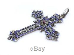 Old, Large Cross In Silver And Garnet Email XIX Lily