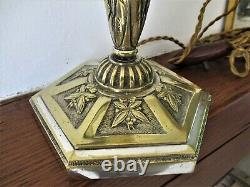 Old Large Massive Bronze Lamp Silver Tulip Muller Brothers Molded Glass