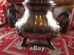 Old Large Sterling Silver Sugar Bowl Minerve Nineteenth St LXV Monogram Bl Lb