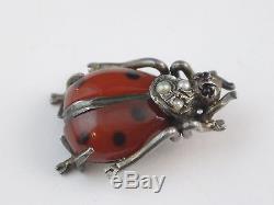 Old Miniature Jewel Ladybug In Sterling Silver Opaline Art Nouveau
