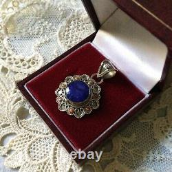 Old Pendant Enorme Sapphire, Black Opale, Silver Massif Creator, Worked
