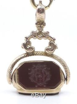 Old Pendant Seal Rotary Seal 14k Gold And Hard Stone Lady Nineteenth