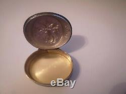 Old Pillbox Sterling Silver Floral Decor XIX Eme