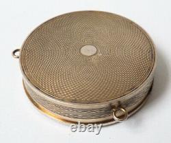 Old Powder Box In Solid Argent - Enamel Around 1920 Silver Enamel Box