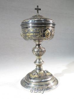 Old Pretty Ciboire In Silver Solid Brass Gilded 1st Coq Time Empire Angel Wing
