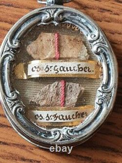 Old Reliquary Silver Massif Sanglier Decorations Virgin-paperolles And Os