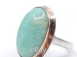 Old Ring In Solid Silver Gold And Green Jade T51