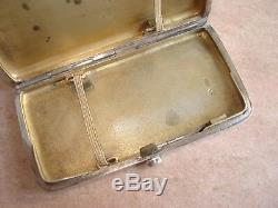 Old Russian Cigarette Case In Silver Solid Russian Silver Case