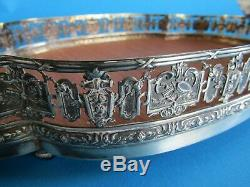 Old Service Tray Solid Silver Miner Interior Wood