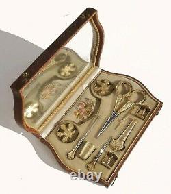 Old Sewing Kit Gold Silver Embroidery Scissors Sewing Gilt Case