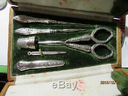 Old Sewing Kit Solid Silver Punch Head Boar