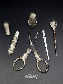 Old Sewing Set Sterling Silver Charles X XIX Antique Sewing Set