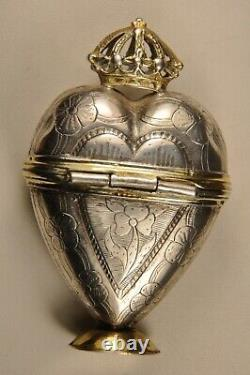 Old Silver Antique Massive Solid Silver Reliquary Heart Box