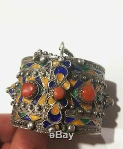 Old Silver Berber Kabyle Coral Enamel Bangle Algeria Morocco