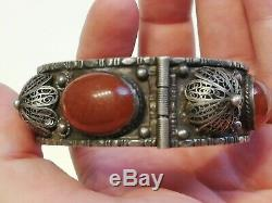 Old Silver Bracelet And Carnelian