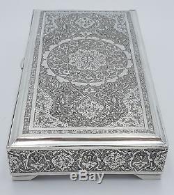 Old Solid Silver Box Vartan 84 Perse Antique Persian Silver Box 445 Gr