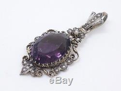 Old Solid Silver Pendant Half Pearls Violet Stone Amethyst Xixth