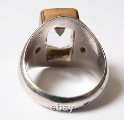 Old Solid Silver Ring And Gold And Topaz Ring + Rubies Silver Ring Jewel