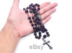Old Sterling Silver Rosary And Pearls Red Color Garnets Art Nouveau 1900