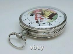 Old Watch Gosset Coq Enamel Painted To Revise Scene Antique Old Pocket Watch
